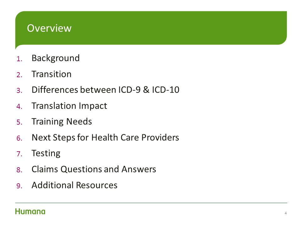 Overview Background Transition Differences between ICD-9 & ICD-10