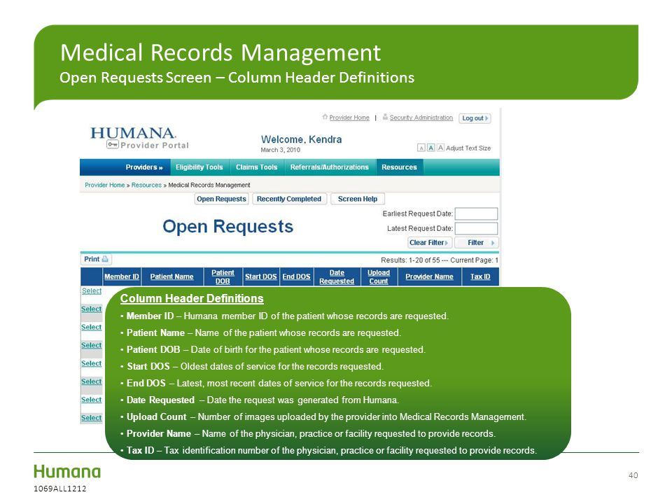 Medical Records Management Open Requests Screen – Column Header Definitions