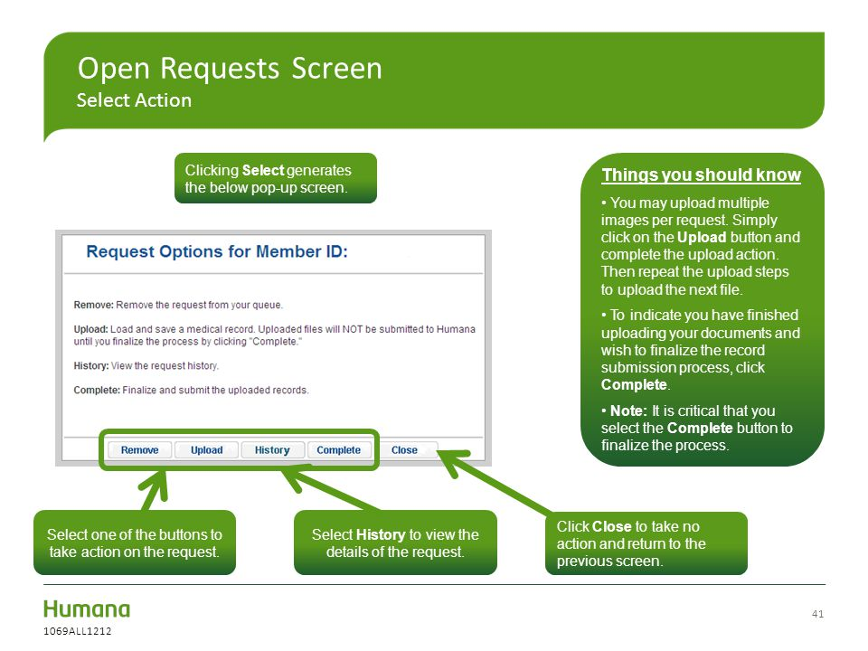 Open Requests Screen Select Action