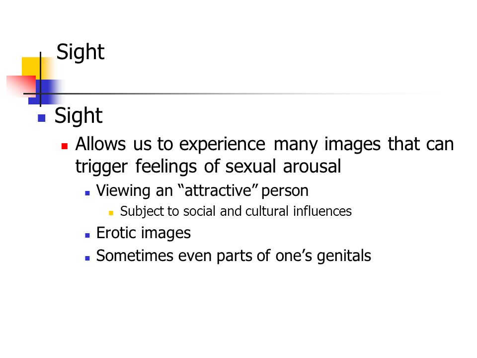 Sight Sight. Allows us to experience many images that can trigger feelings of sexual arousal. Viewing an attractive person.
