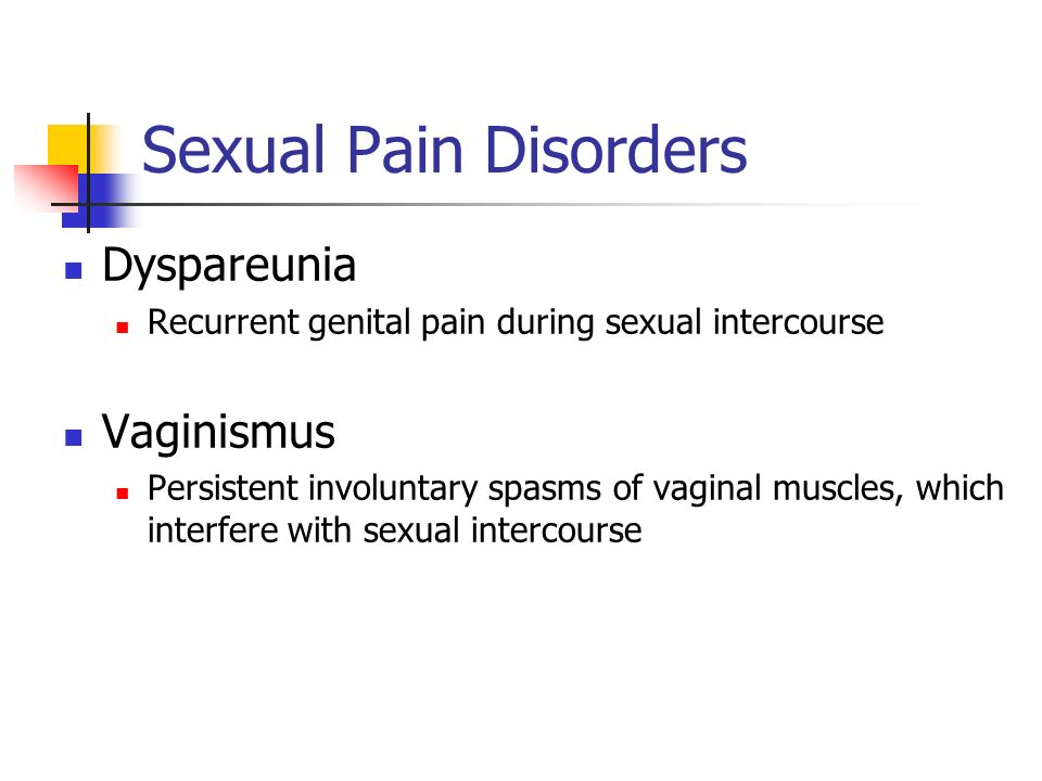 Sexual Pain Disorders Dyspareunia Vaginismus