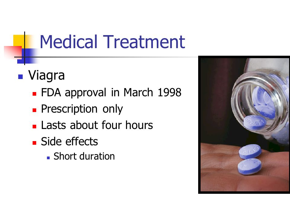 Medical Treatment Viagra FDA approval in March 1998 Prescription only