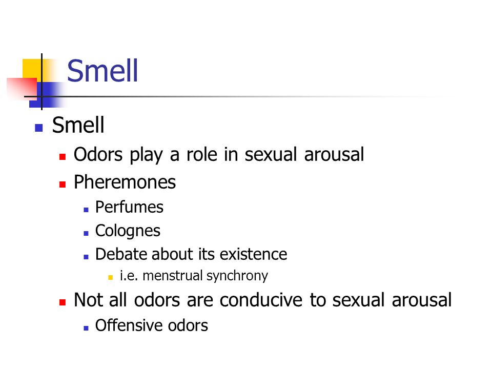 Smell Smell Odors play a role in sexual arousal Pheremones