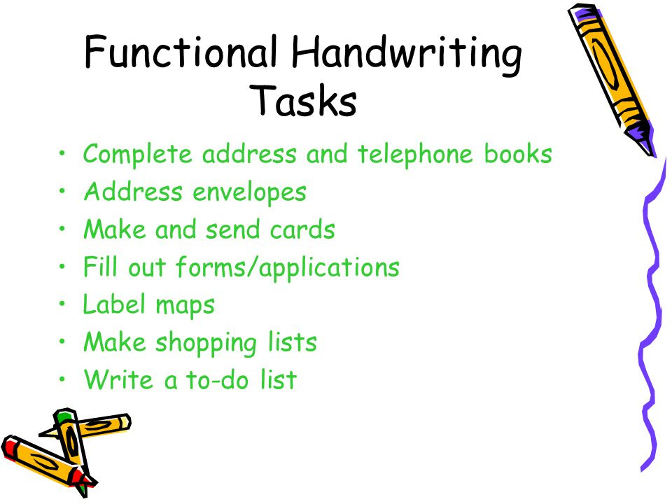 Functional Handwriting Tasks