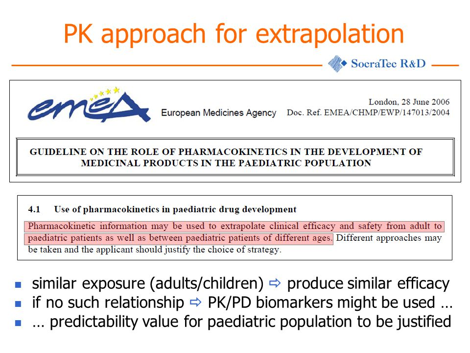 PK approach for extrapolation