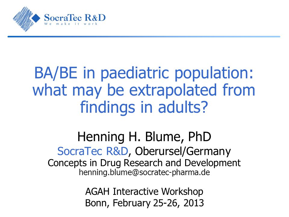 BA/BE in paediatric population: what may be extrapolated from findings in adults
