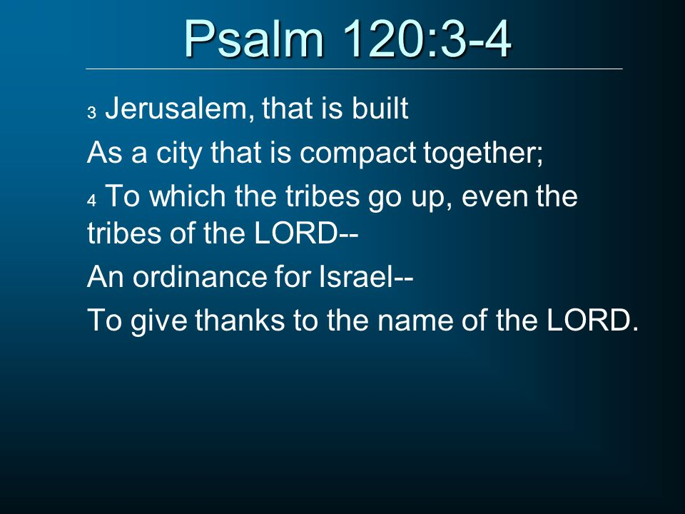 Psalm 120:3-4 As a city that is compact together;