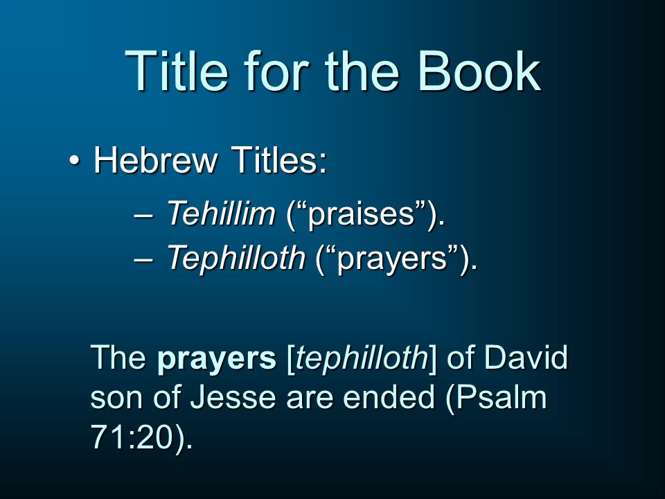 Title for the Book Hebrew Titles: Tehillim ( praises ).