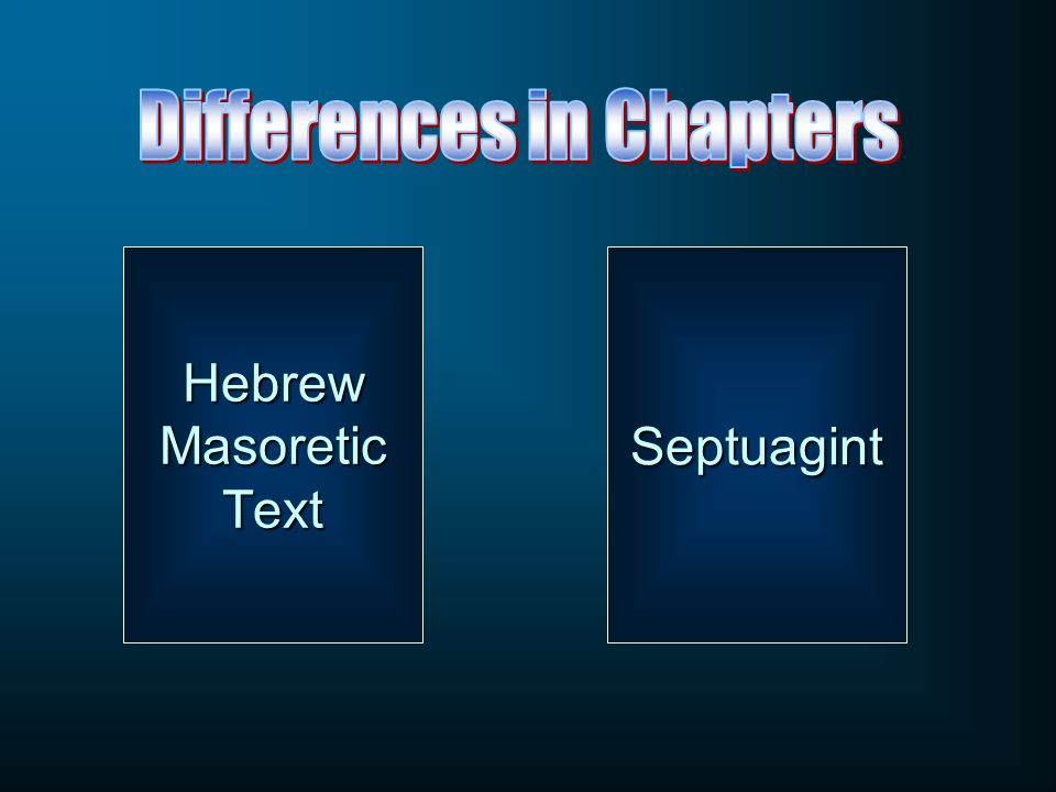 Differences in Chapters