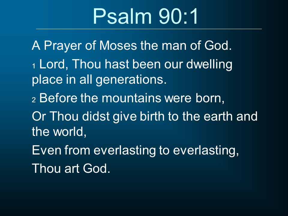 Psalm 90:1 A Prayer of Moses the man of God.