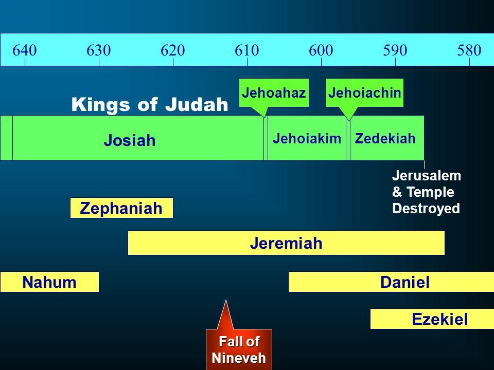 Kings of Judah 640 630 620 610 600 590 580 Josiah Zephaniah Jeremiah