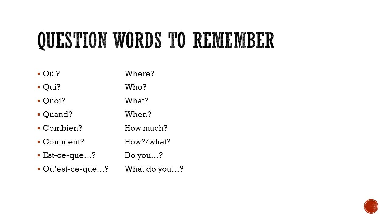 Question words to remember