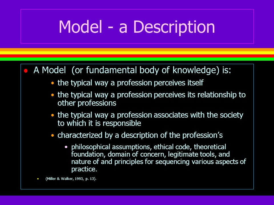 Model - a Description A Model (or fundamental body of knowledge) is: