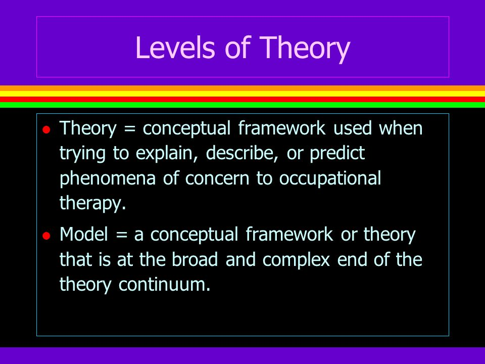 Levels of Theory Theory = conceptual framework used when trying to explain, describe, or predict phenomena of concern to occupational therapy.