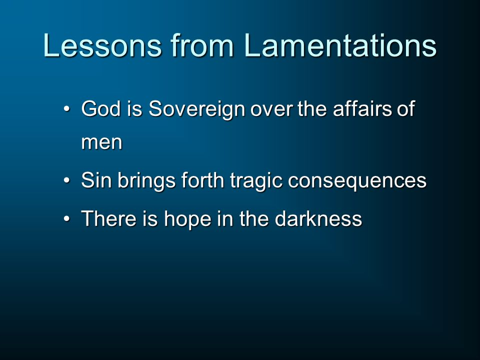 Lessons from Lamentations