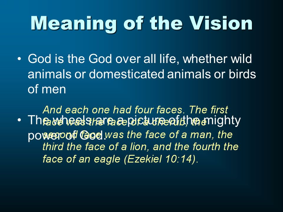 Meaning of the Vision God is the God over all life, whether wild animals or domesticated animals or birds of men.