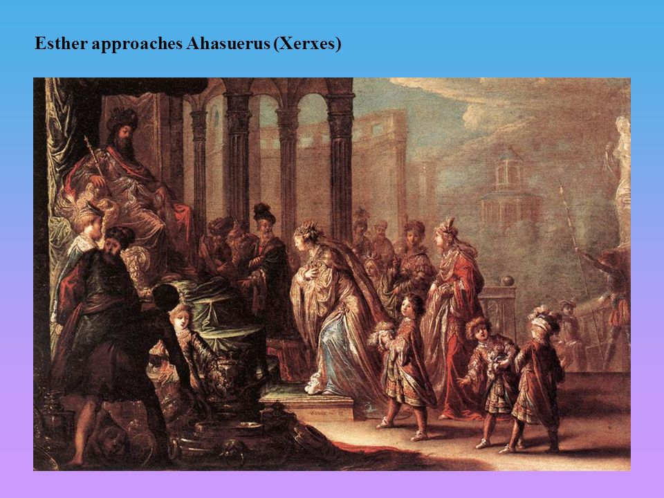Esther approaches Ahasuerus (Xerxes)