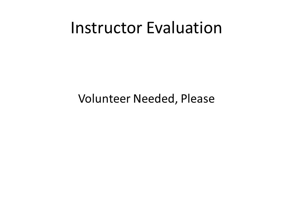 Instructor Evaluation