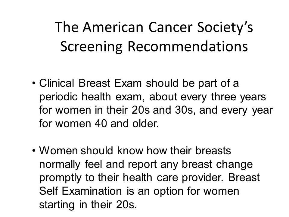 The American Cancer Society's Screening Recommendations