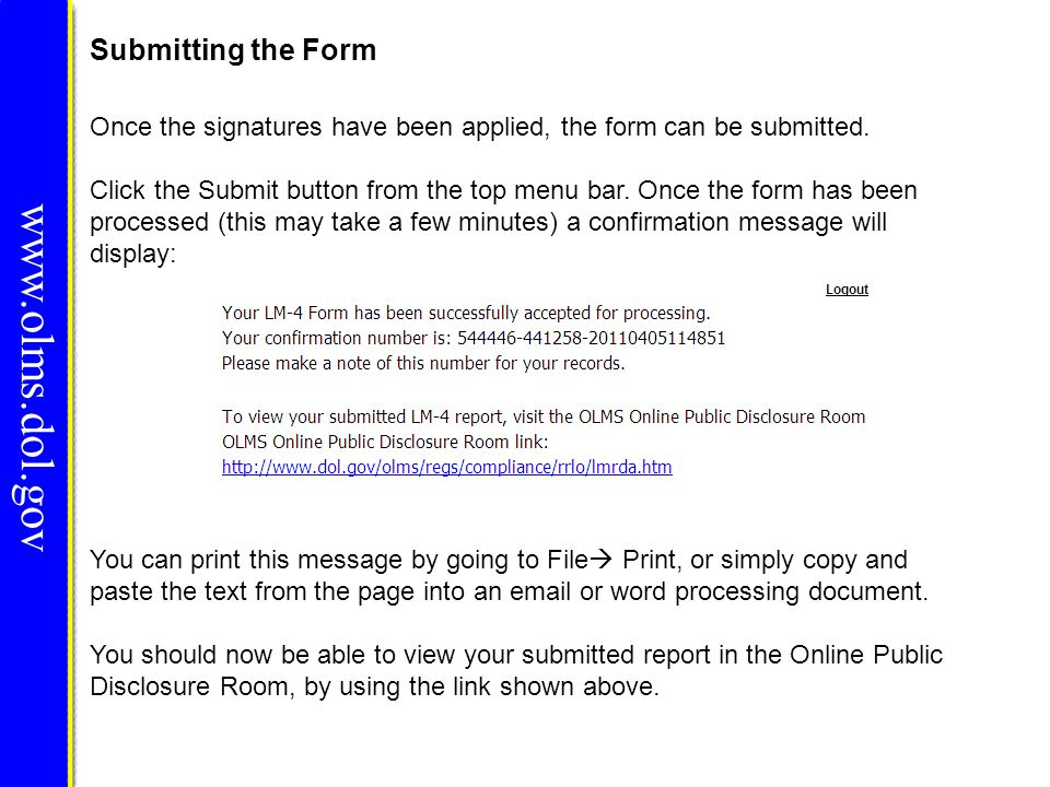 www.olms.dol.gov Submitting the Form