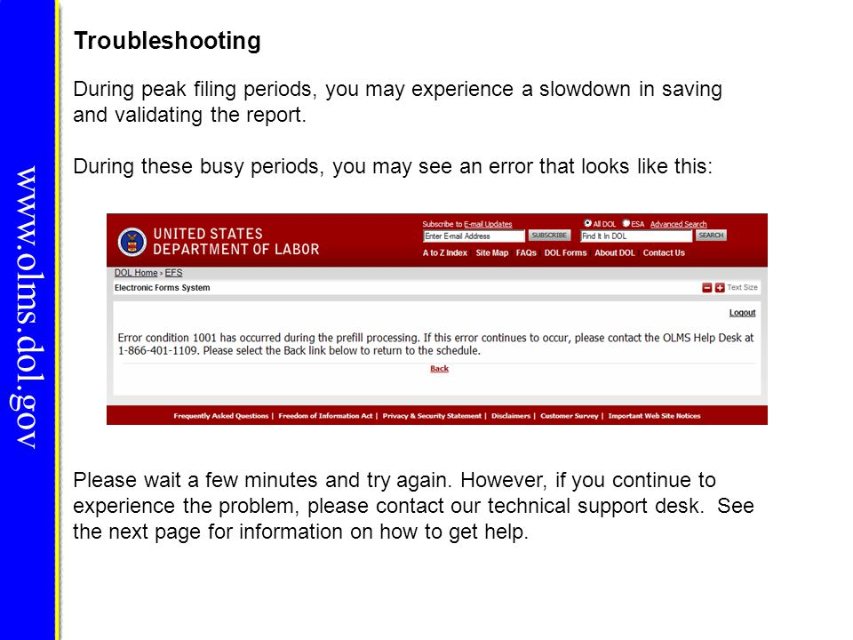 www.olms.dol.gov Troubleshooting