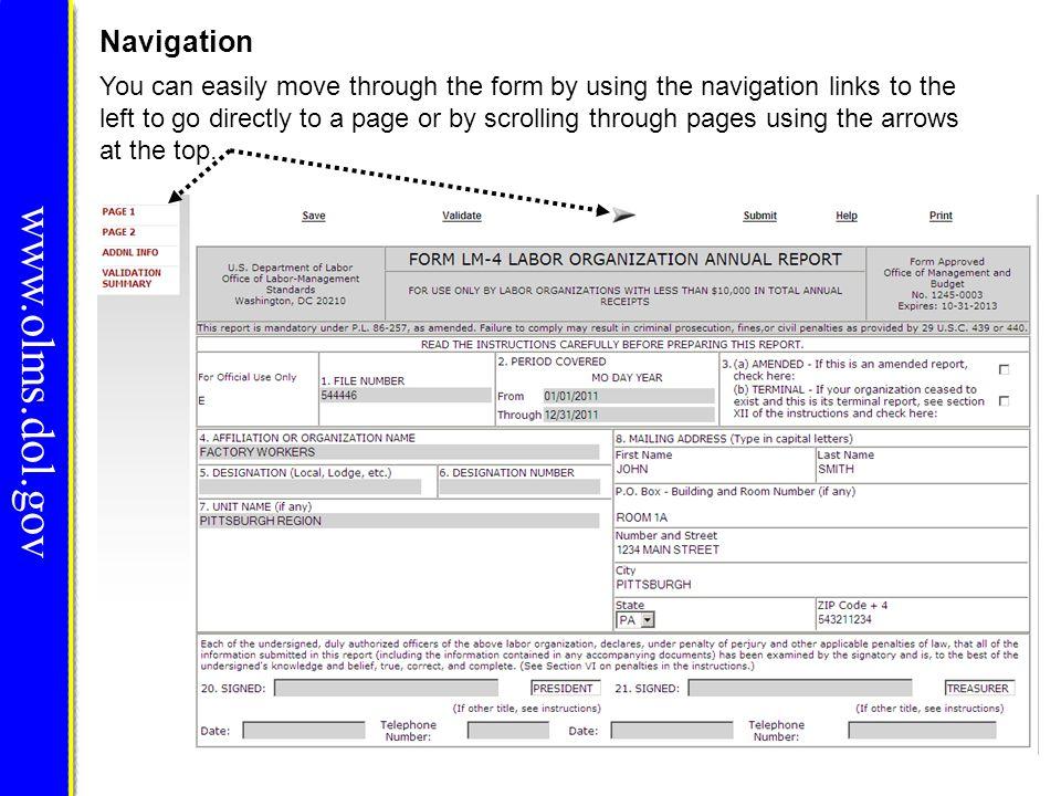 www.olms.dol.gov Navigation