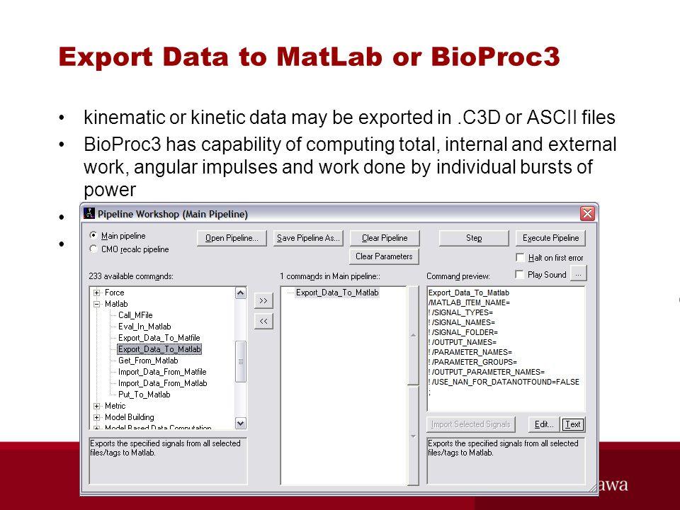 Export Data to MatLab or BioProc3