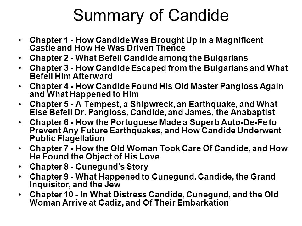Summary of Candide Chapter 1 - How Candide Was Brought Up in a Magnificent Castle and How He Was Driven Thence.