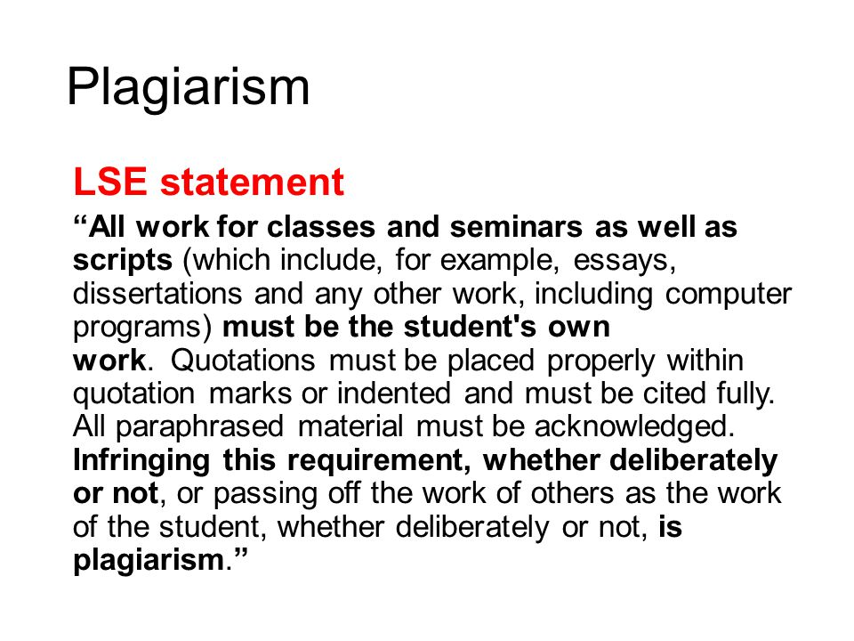 plagiarism statement Sample plagiarism warnings for syllabi below are sample plagiarism warnings that faculty can adapt for their syllabi, written by alfred e guy jr permission is.