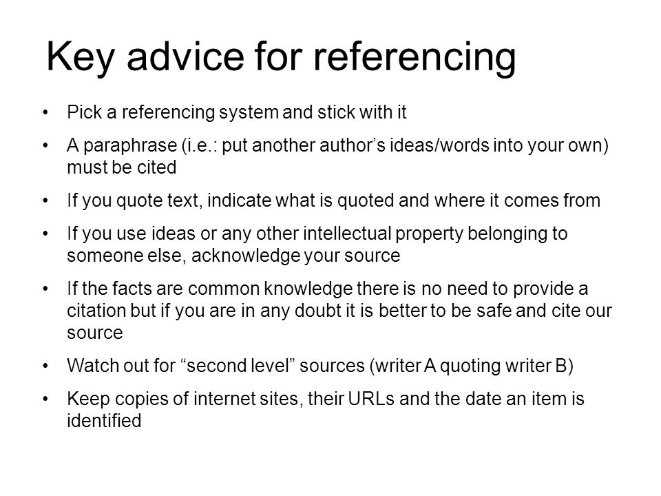 Key advice for referencing