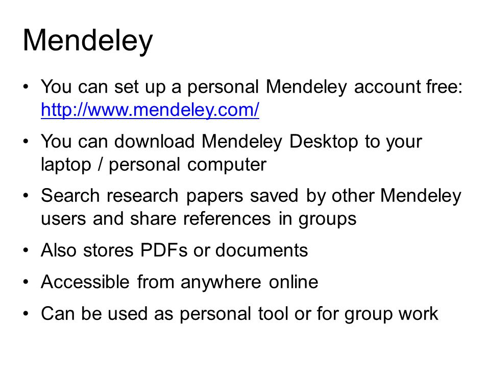 Mendeley You can set up a personal Mendeley account free: http://www.mendeley.com/