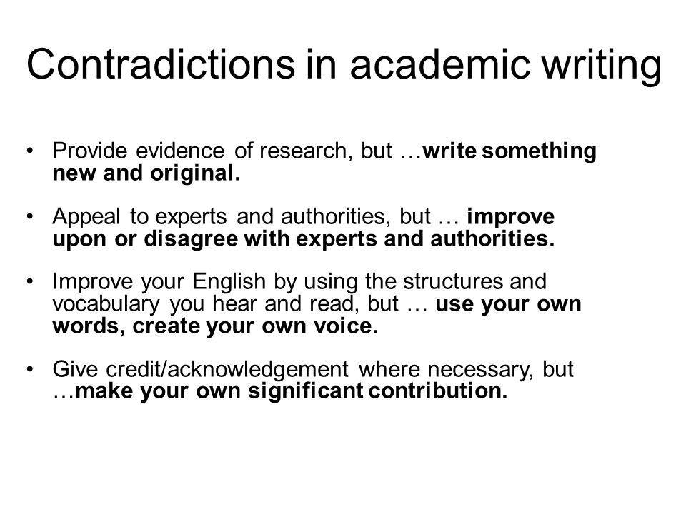 Contradictions in academic writing