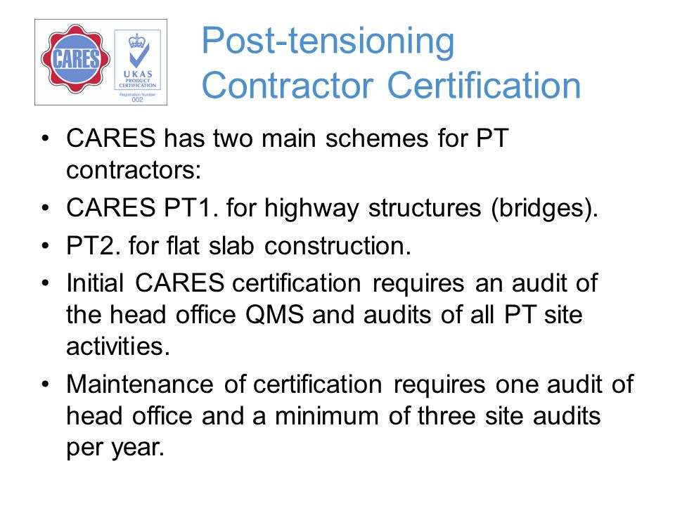 Post-tensioning Contractor Certification