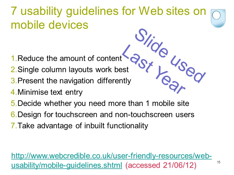 7 usability guidelines for Web sites on mobile devices