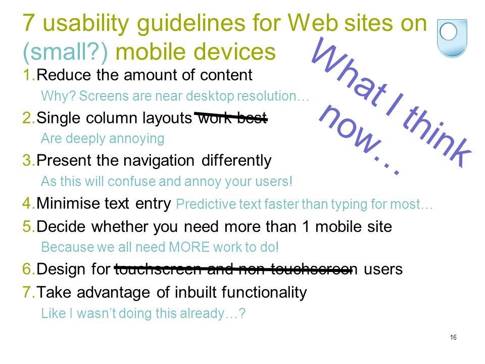 7 usability guidelines for Web sites on (small ) mobile devices