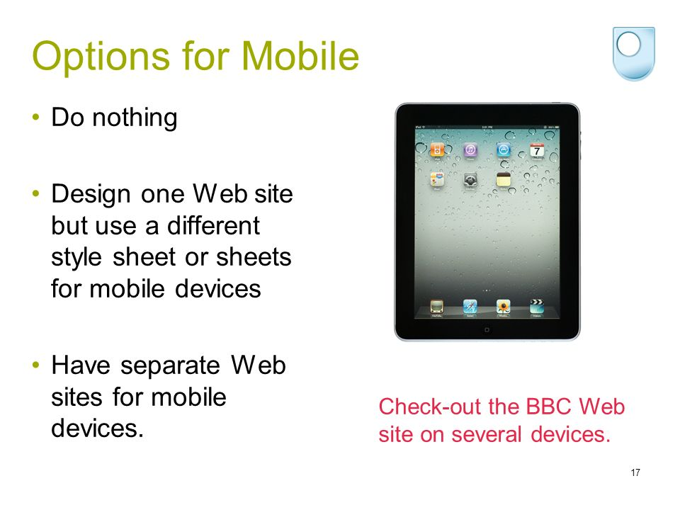Options for Mobile Do nothing