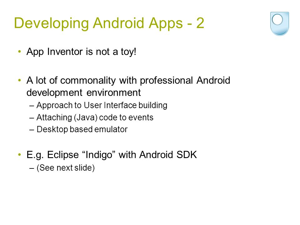 Developing Android Apps - 2