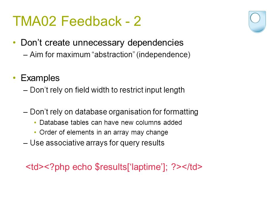 TMA02 Feedback - 2 Don't create unnecessary dependencies Examples