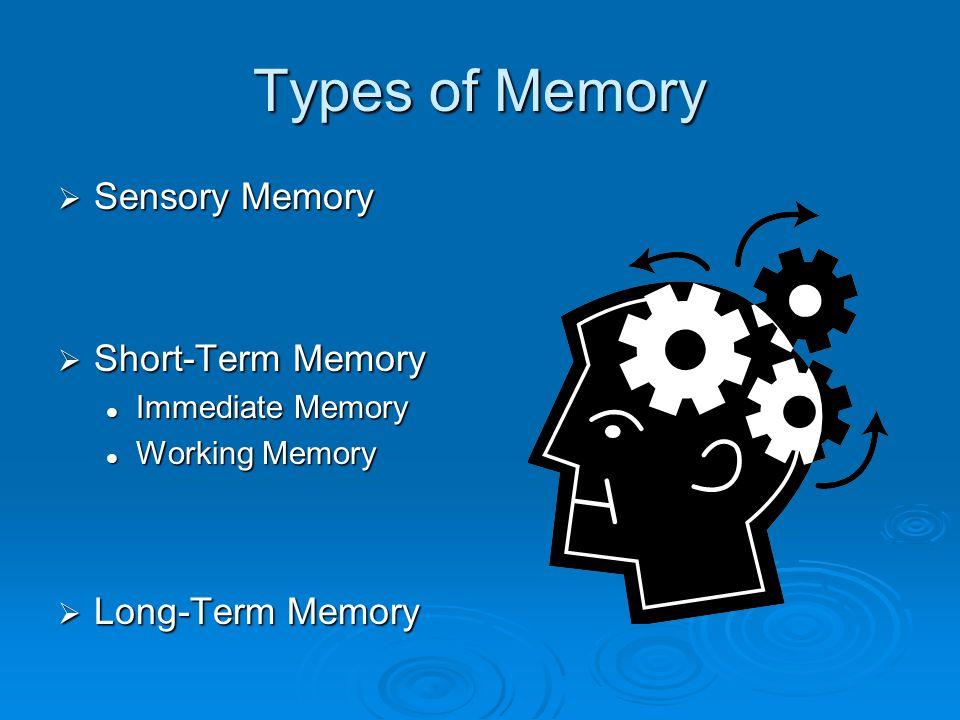 Types of Memory Sensory Memory Short-Term Memory Long-Term Memory