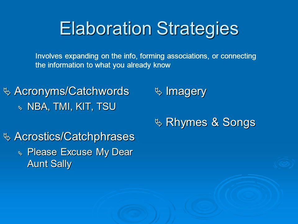 Elaboration Strategies