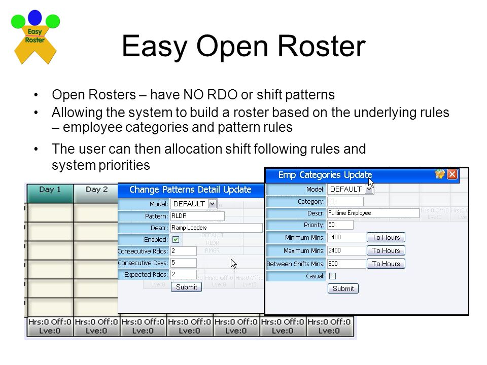 Easy Open Roster Open Rosters – have NO RDO or shift patterns