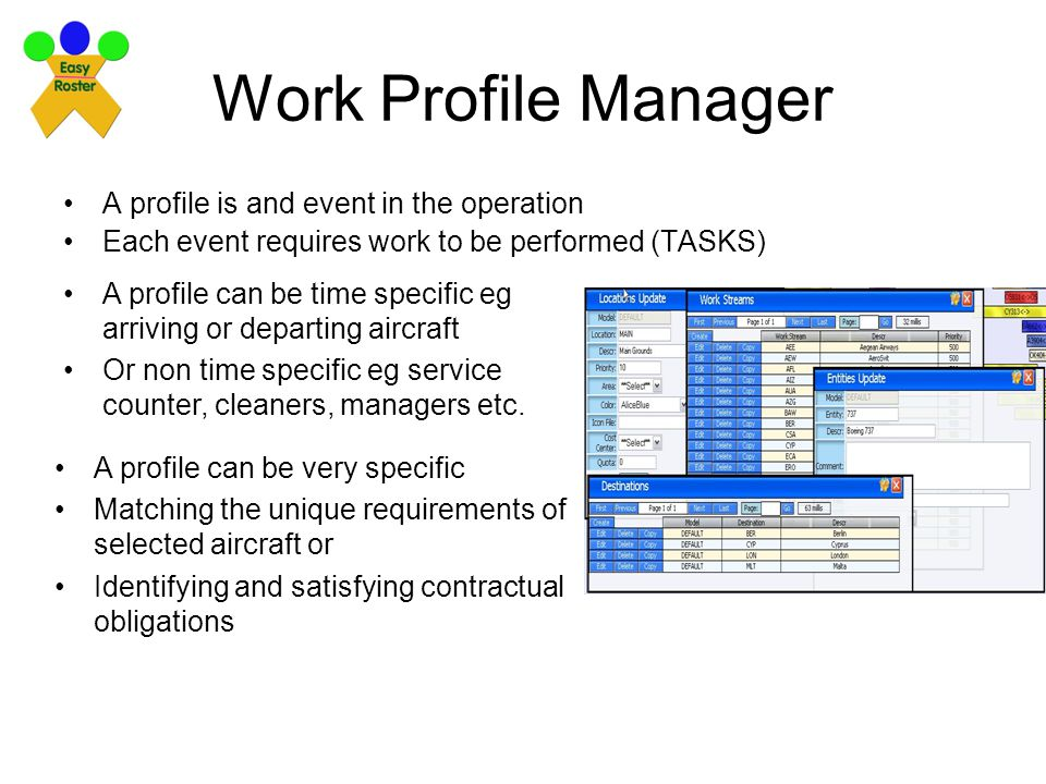 Work Profile Manager A profile is and event in the operation