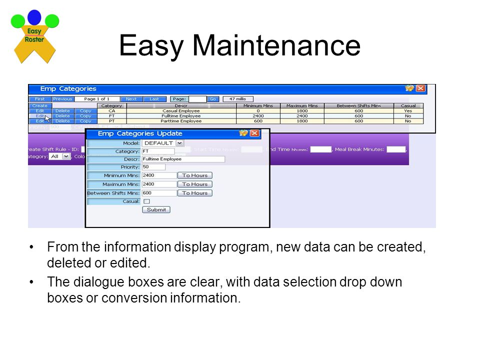 Easy Maintenance From the information display program, new data can be created, deleted or edited.