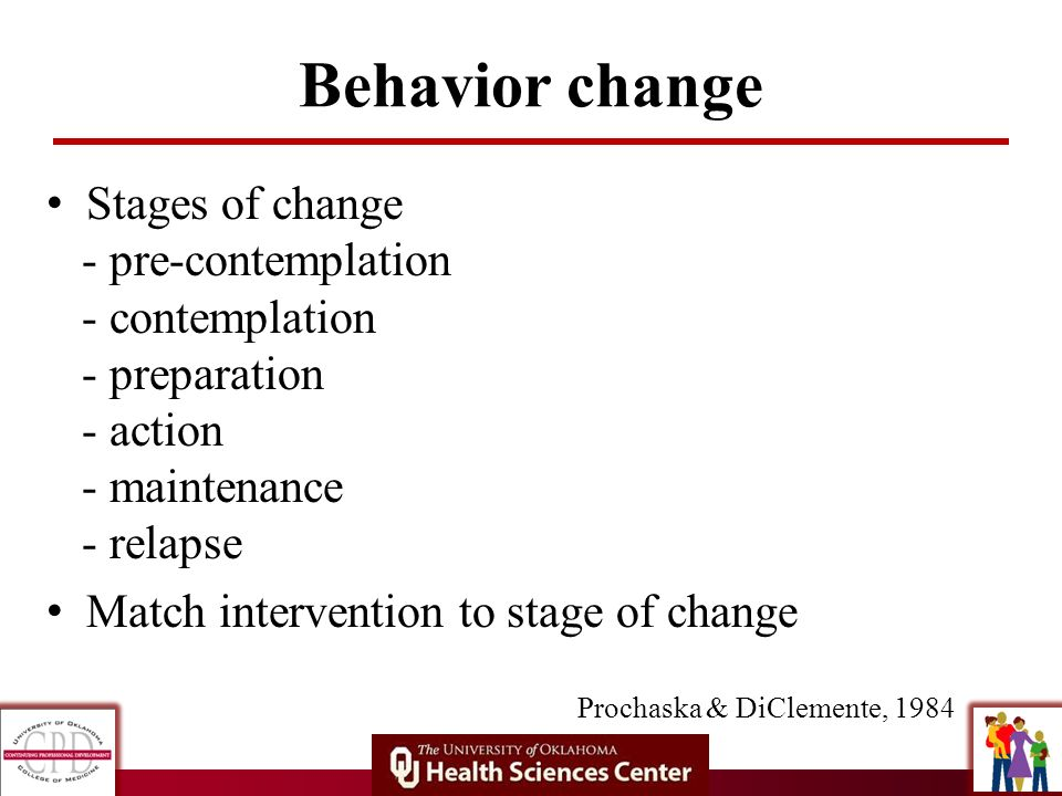 Behavior change Stages of change - pre-contemplation - contemplation