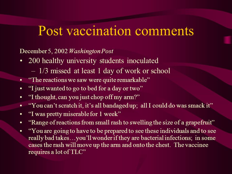 Post vaccination comments