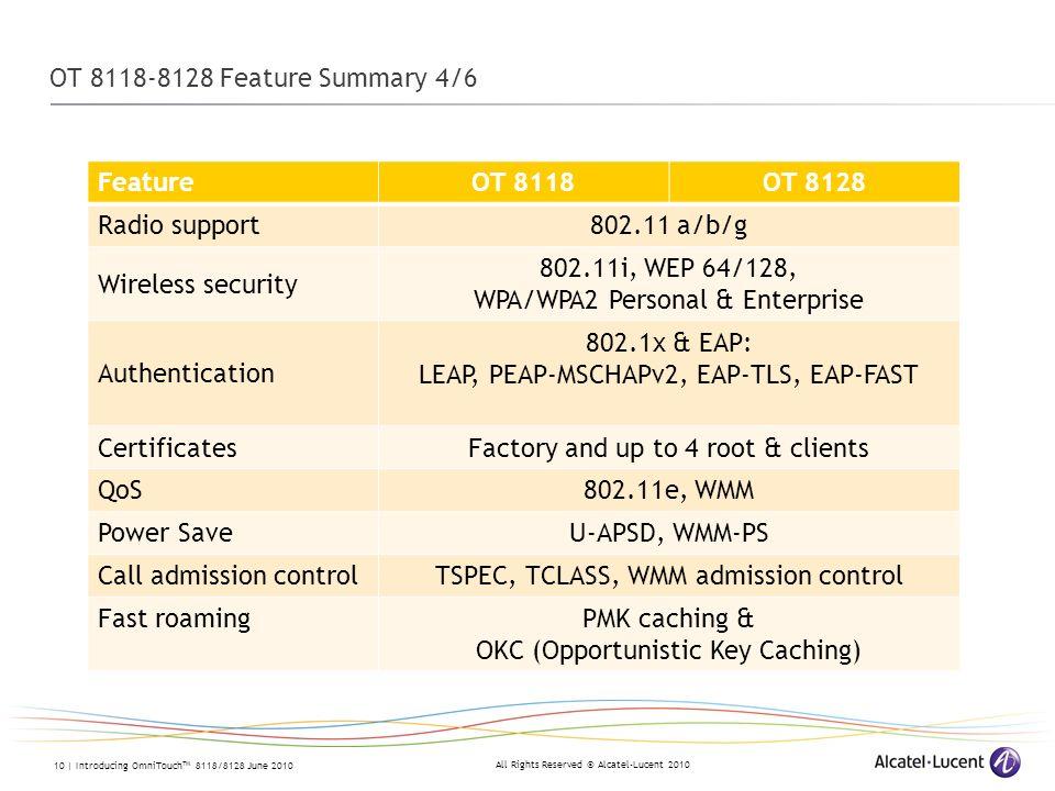 WPA/WPA2 Personal & Enterprise Authentication 802.1x & EAP: