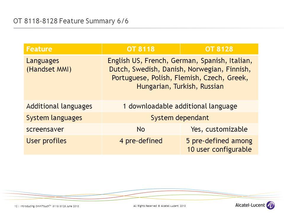 1 downloadable additional language System languages System dependant