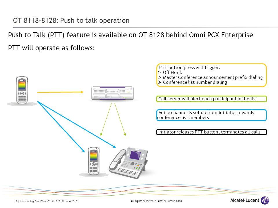 OT 8118-8128: Push to talk operation