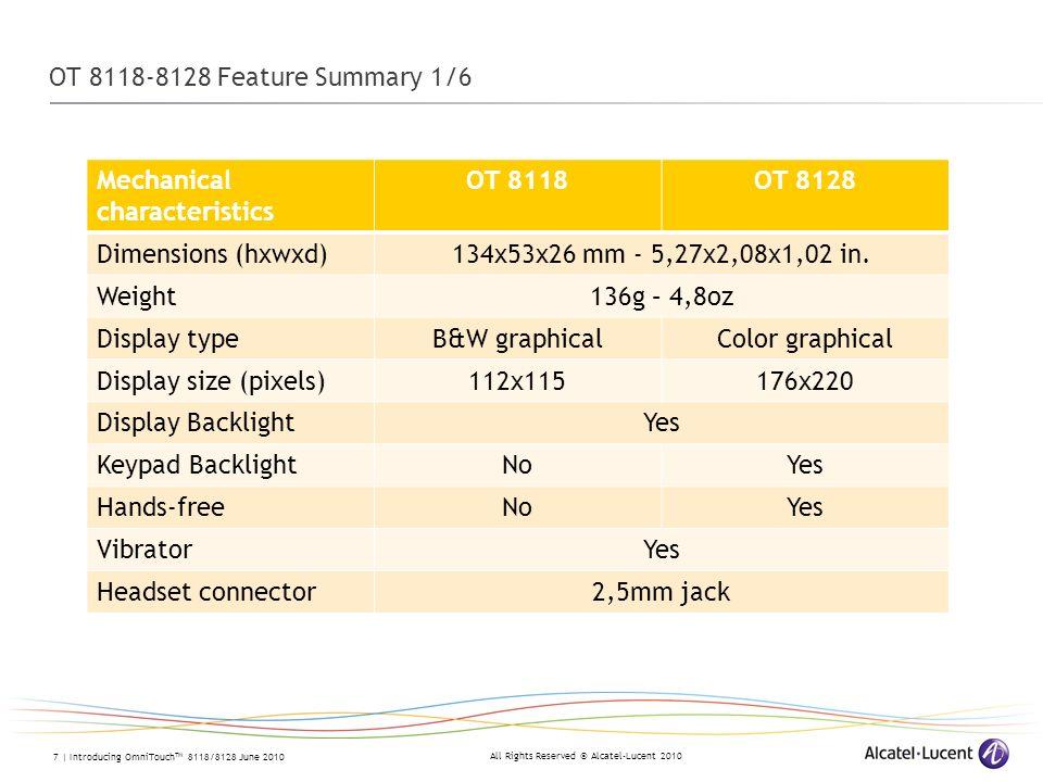 OT 8118-8128 Feature Summary 1/6 Mechanical characteristics. OT 8118. OT 8128. Dimensions (hxwxd)