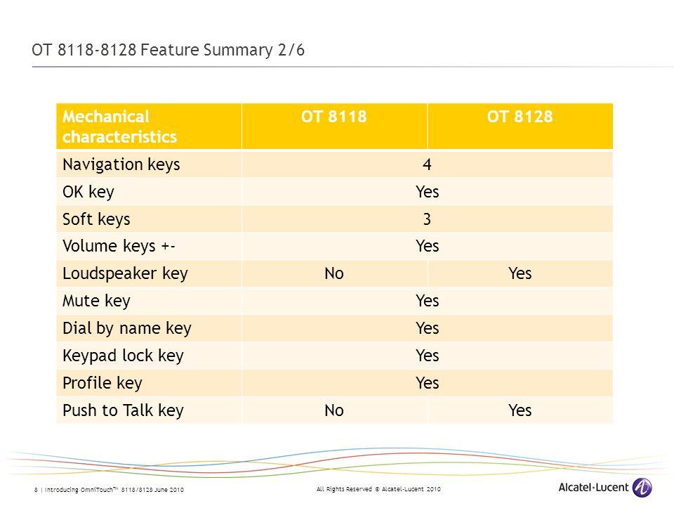 OT 8118-8128 Feature Summary 2/6 Mechanical characteristics. OT 8118. OT 8128. Navigation keys. 4.